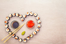 Romantic Heart Sushi Dinner. R...