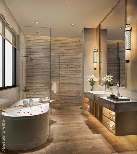 Photographie 3d rendering modern bathroom with luxury tile decor