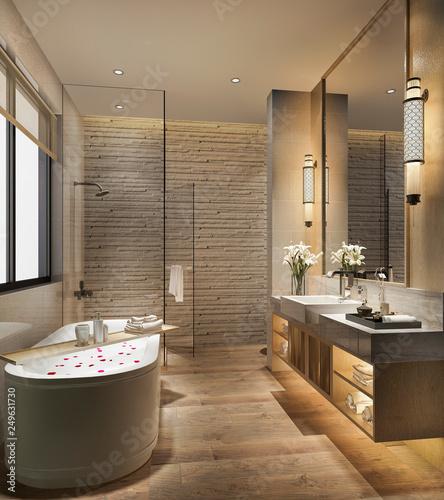Photo  3d rendering modern bathroom with luxury tile decor
