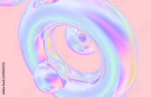 canvas print motiv - mim.girl : 3d render. Abstract geometric shape crystal background, iridescent texture, faceted gem.