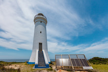 Point Stephens Lighthouse And Solar Panels That Power It. Fingal Bay, New South Wales, Australia