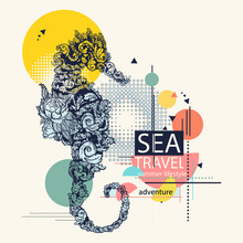 Sea Horse, Zine Culture Style,...