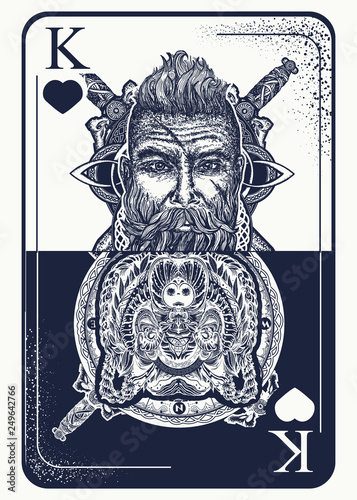 9a5148fb1 King playing card tattoo and t-shirt design. Viking and bear. Gothic symbol