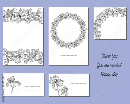 Set of cards with iris flowers  Collection floral paper