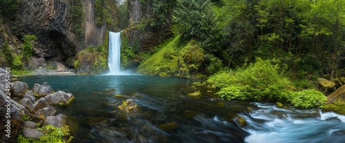 Toketee Falls is a waterfall in Douglas County, Oregon, United States, on the North Umpqua River at its confluence with the Clearwater Rive.r Beautiful falls in forest, West coast USA