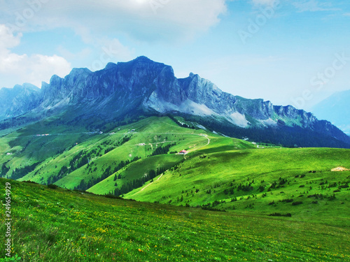 Foto op Plexiglas Groene Alpine pastures and meadows on the slopes of Appenzell Alps mountain range - Canton of St. Gallen, Switzerland