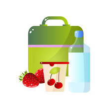 Lunch Box With Healthy Food, Strawberry, Cherry And Bottle Of Water, School Lunch In Container Vector Illustration