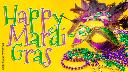 Fotografia, Obraz Happy Mardi Gras and Fat Tuesday carnival concept theme with close up on a face