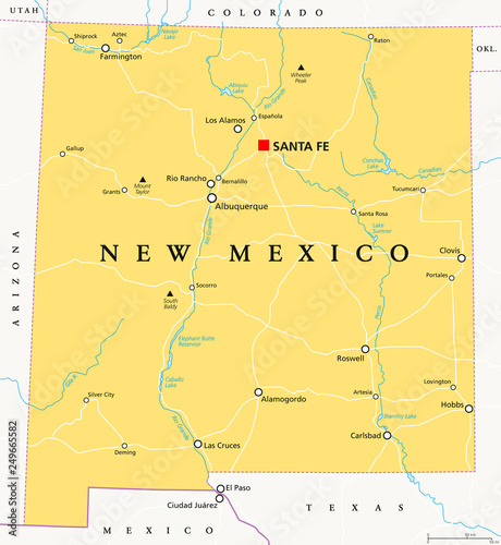 New Mexico, political map, with capital Santa Fe, borders ...