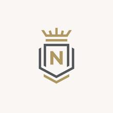 Heraldic Letter N Monogram. Elegant Minimal Logo Design. Letter N   Crown   Book   Shield.