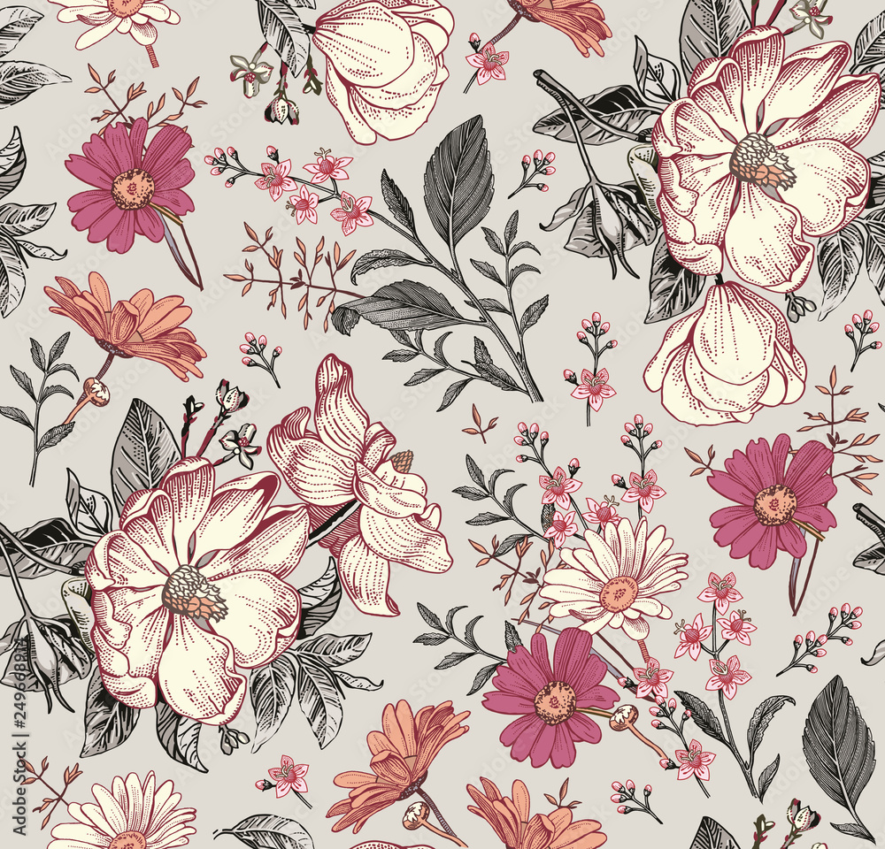 Fototapety, obrazy: Seamless pattern. Realistic blooming isolated flowers Vintage fabric background. Beautiful Rosehip chamomile croton wildflowers. Wallpaper baroque. Drawing engraving. Vector victorian Illustration