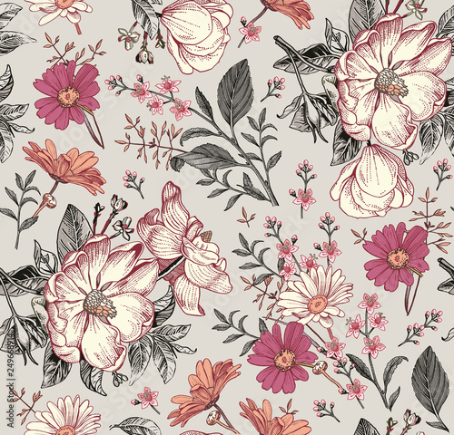 wzor-realistyczny-kwitnienie-odizolowywajacy-kwiaty-rocznik-tkaniny-tlo-piekne-dzikie-kwiaty-rumianku-kroton-tapeta-barokowa-grawerowanie-rysunkowe-wektorowa-wiktorianski-ilustracja