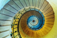 Upside View Of A Spiral Staircase In Lighthouse