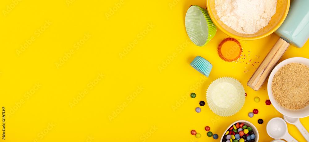 Fototapety, obrazy: Baking ingredients on yellow background, flat lay