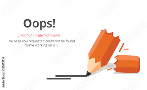 Error 404 page layout vector design. Website 404 page creative concept. The page you requested could not be found. Oops 404 error page.