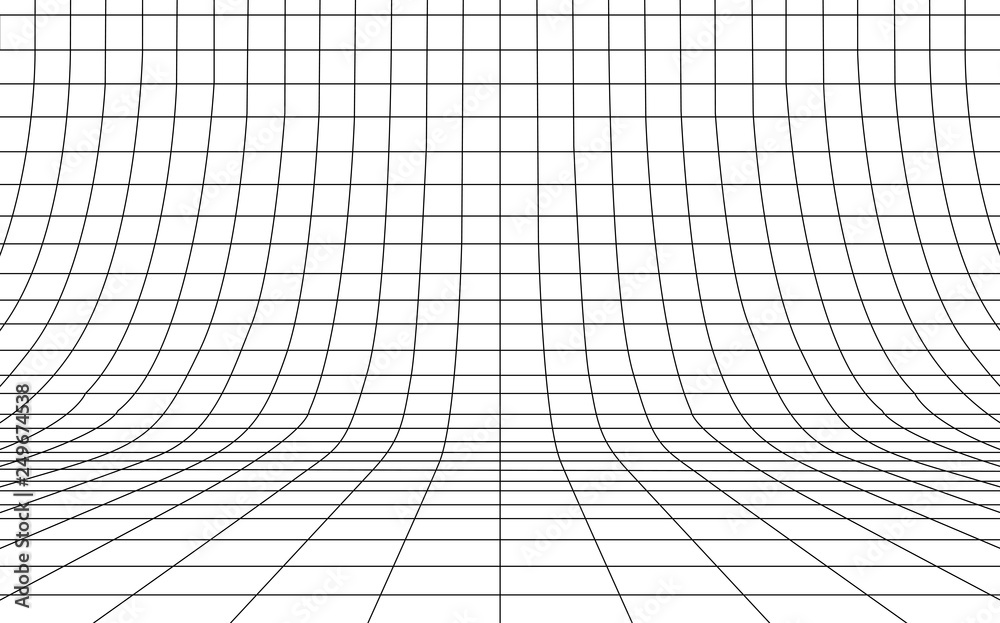Fototapety, obrazy: Grid curved background empty in perspective, vector illustration.