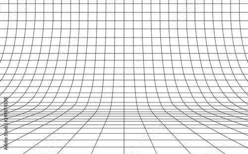 Canvastavla Grid curved background empty in perspective, vector illustration.