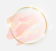 Gold Shiny Glowing Round Frame With Rose Pastel Brush Strokes Isolated On White Background. Golden Luxury Line Border For Invitation, Card, Sale, Fashion, Wedding, Photo Etc. Vector Illustration