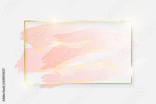 Fotografie, Obraz Gold shiny glowing rectangle frame with rose pastel brush strokes isolated on white background