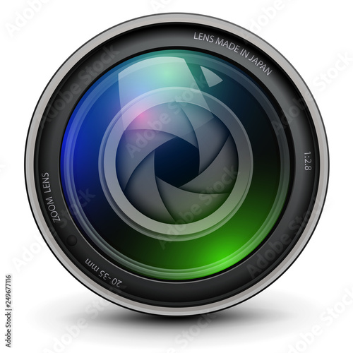 Camera photo lens with shutter inside Wall mural