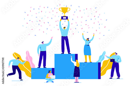 Obraz Business people character holding thropy and get reward standing on podium and celebrate. Team Work, Partnership, Leadership Concept. Flat vector illustration on white background. Modern style. - fototapety do salonu