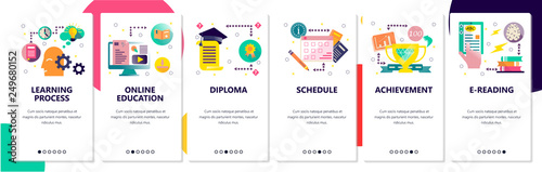 Web site onboarding screens. Online education and learning process. Menu vector banner template for website and mobile app development. Modern design flat illustration.