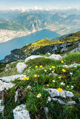 Aussicht vom Monte Baldo auf den Gardasee runter mit Torbole und Riva del garda Canvas Print