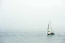 Sailing In The Dense Fog In At...