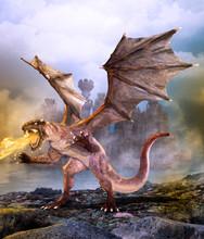 Fantasy Scene Dragon Attacking...