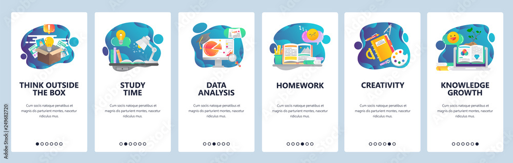 Fototapety, obrazy: Web site onboarding screens. Education, knowledge, studying and creativity. Menu vector banner template for website and mobile app development. Modern design flat illustration.