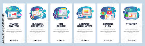 Obraz Web site onboarding screens. Traffic analysis, AI, business development and website coding. Menu vector banner template for website and mobile app development. Modern design flat illustration. - fototapety do salonu
