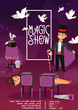 Magician vector illusionist show magic man illusion or magical illusionism and cartoon character person in hat show performance with girl and bunny background illustration