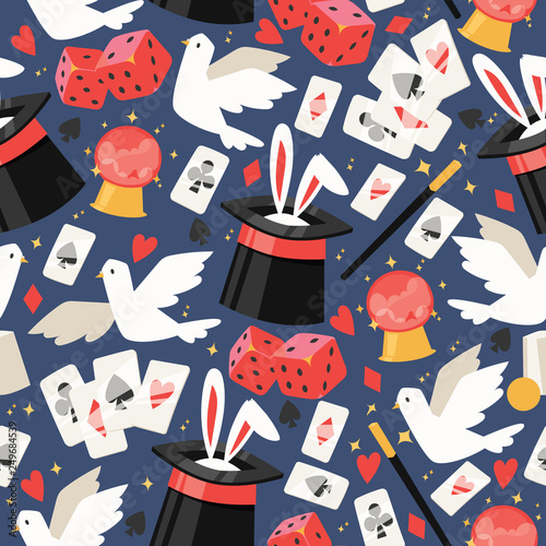 Magician vector seamless pattern illusionist show magic illusion playing cards a Canvas Print