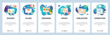 Web Site Onboarding Screens. Art, Design And Drawing Tools. Chart, Computer Chip. Menu Vector Banner Template For Website And Mobile App Development. Modern Design Flat Illustration.