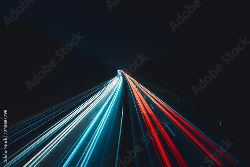 Fotografie, Obraz  Daten-autobahn in der Nacht