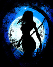 Delightful Girl Samurai Against The Background Of The Big Moon