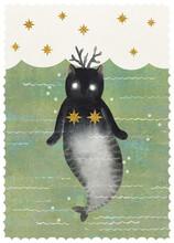 Watercolor Cat Mermaid And Sea