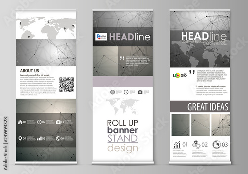 Fotografie, Obraz  Roll up banner stands, flat design templates, geometric style, corporate vertical vector flyers, flag layouts