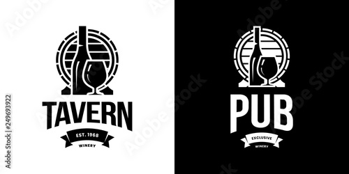 Fotografía Modern wine vector isolated logo sign for pub, tavern, restaurant, house, shop, store, club and cellar