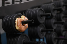 A Donut Is On A Weight Rack, A Metaphor For A Tough Life Choice