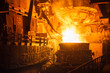 canvas print picture - steel production in electric furnaces