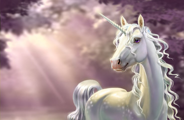 Unicorn in the forest, close-up