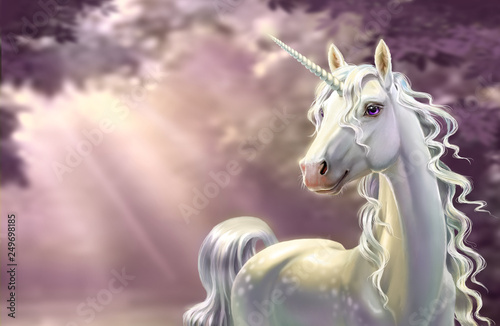 Photo  Unicorn in the forest, close-up