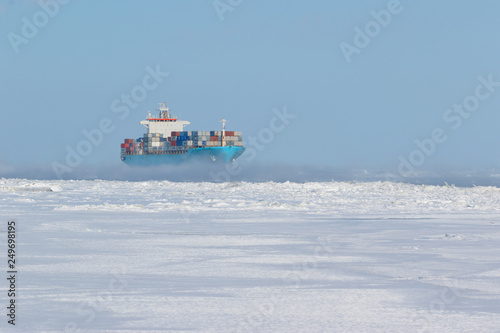 Fotografie, Obraz Container cargo ship on icy waters