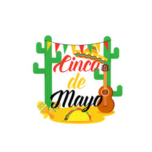Cinco De Mayo -May 5th- Typography Banner Vector. Mexico Design For Fiesta Cards Or Party Invitation And Poster. Collection Of Cinco De Mayo Design Vector Illustration Elements - Vector