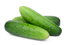 Three Whole Cucumbers Isolated On White Background