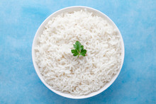 Bowl With White Boiled Rice Wi...