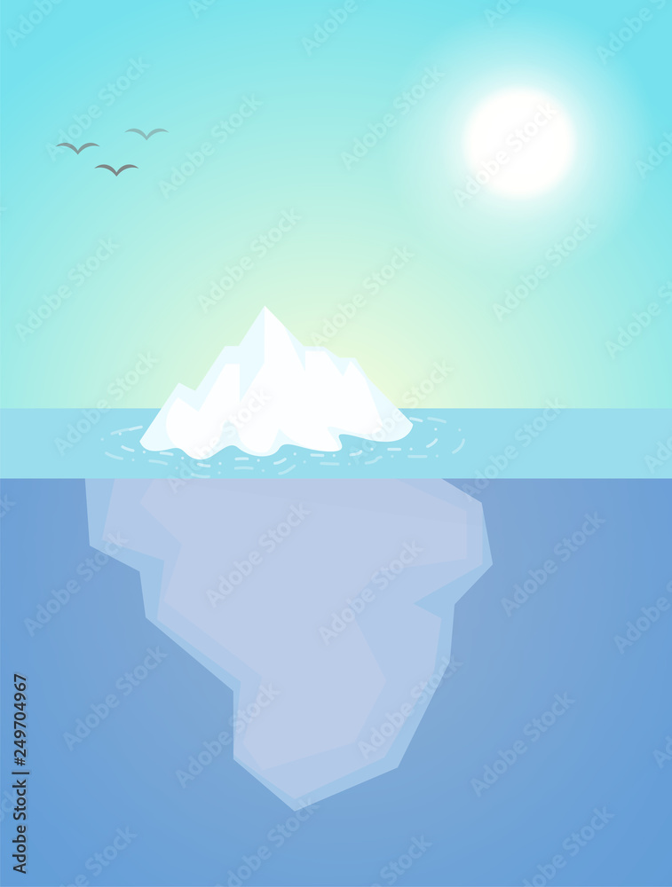 Fototapety, obrazy: The iceberg that appeared just a little above the water The nature of the subconscious of people.