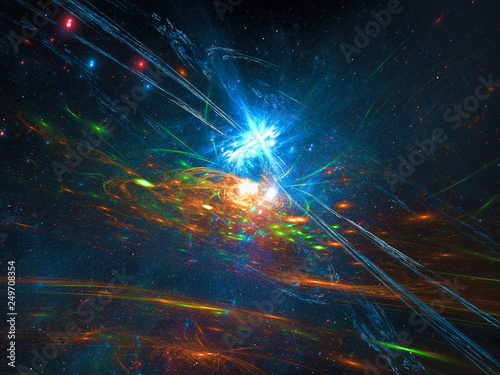 Photo Abstract cosmos background with stars and galaxy - digitally generated image