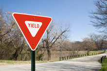 Yield Sign In A Park